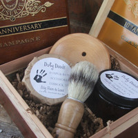 Men's Shave Kit Cigar Box Shave Brush handmade by DirtyDeedsSoaps