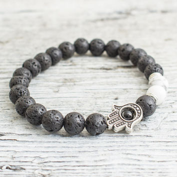 Black lava stone and white howlite beaded silver Hamsa hand stretchy bracelet, mens bracelet, womens bracelet