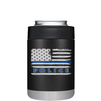Faded Blue Line Police Flag on Black Matte CAN Cooler or Bottle Colster Stainless Steel -  Police Officer Law Enforcement Gift