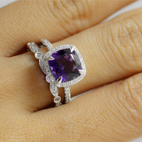 Amethyst Ring Set 14K Solid Gold Diamond Halo Amethyst Engagement Ring and Full Eternity Band/Anniversary Ring