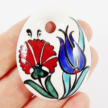 OOAK Large Hand painted Turkish Cini Ceramic Pendant - Red Tulip Blue Carnation White No: 51 - 1pc