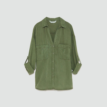 FLOWING SHIRT WITH POCKETS Khaki - L