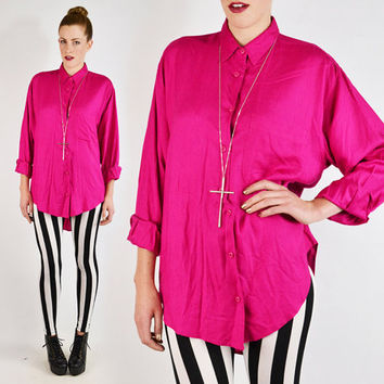 vintage 80s 90s HOT PINK OVERSIZED shirt / 80s pink oversize shirt / 80s oversized shirt / 90s oversized shirt / 80s slouchy shirt / s m l