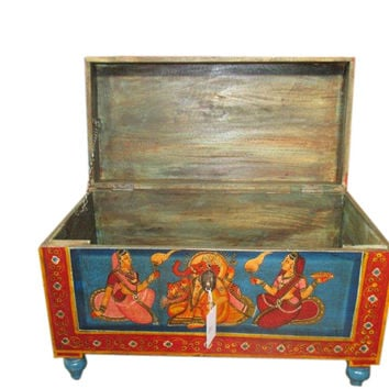 Indian Hand Painted Storage Trunk Coffee Table Indian Furniture