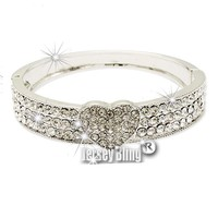 BLING Heart Crystal & Rhinestone Hinged Bracelet Bangle in Giftboxed by Jersey Bling®