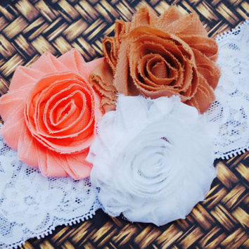 Peach Blush Headband.Newborn Headband.Flower Girl Headband.White Headband.Baby Girl Headband.Rosette Headband.Wedding Hair Bow.Baby Hair Bow