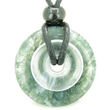 Amulet Double Lucky Donuts Moss Agate and Rock Crystal Quartz Gemstones Pendant Necklace