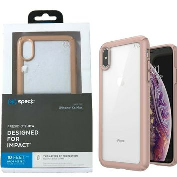 Speck Presidio Show Case Cover for Apple iPhone XS Max Clear Rose Gold OP