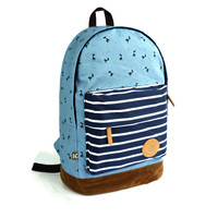 Fresh Deer Strip Print Canvas Backpack