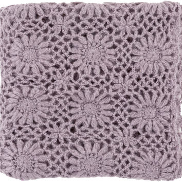 Surya Teresa 50 by 60 inches Crocheted Acrylic Throw, Mauve