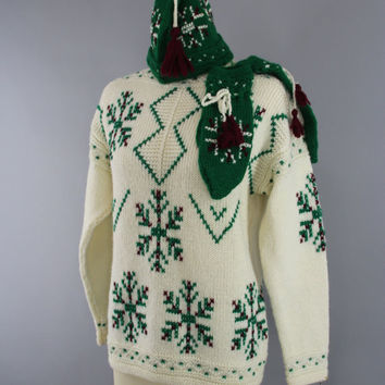 Vintage 1950s Snowflake Sweater / 1960s Fair Isle Winter White Wool Sweater / Holiday Snow / Hat & Mittens Set / Size Small S