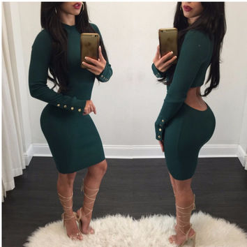 2017 Spring Knitted Dress Women Slim Green Long Sleeve Open Back Elegant Backless Sheath Sexy Bodycon Dress Vestidos Mujer
