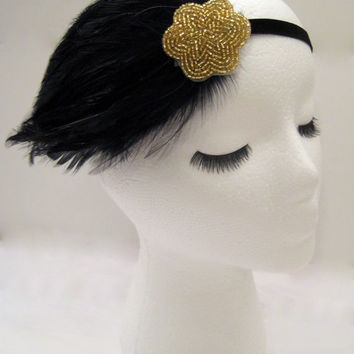 The Lucille - black gold art deco headband, feather hairpiece, Gatsby party headpiece, roaring 20s style, gold beaded 1920s head wrap