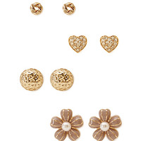 FOREVER 21 Sweet Thing Stud Set Mauve/Gold One
