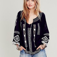 Free People Womens Silver Springs Embroidered Top