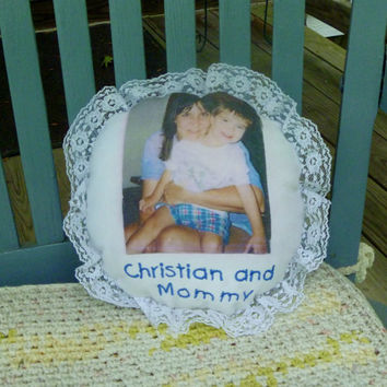Refashioned Custom Embroidered Personalized Photo Pillow