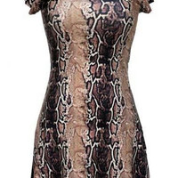 Snakeskin Print Round Neck A Line Dress