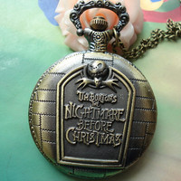 Large Antique Bronze Vintage Filigree Nightmares Before Christmas letters signs Round Pocket Watch Locket Pendants Necklaces
