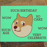 "Doge Birthday Card ""Such Birthday"" - Funny Card, Internet Meme, Humor Card, Cute Dog, Shibe Greeting Card, Animal Birthday Card, Shiba Inu"