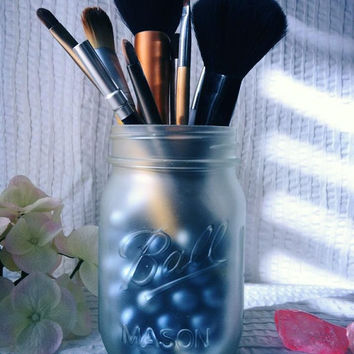 NEW, PINT Size Frosted Mason Jar Makeup Holders, Organizers, Bathroom/Home Decor, Candle Jars, Vases