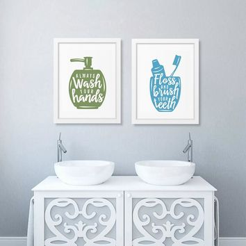 Bathroom Wall Art with Fun Bathroom Sayings on Canvas
