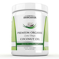 Cosmetics Derigueur Organic Extra Virgin Coconut Oil for Skin and Hair Care, 16 fl. oz.