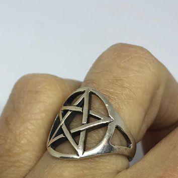 Ancient Wiccan Pentagonal Star Ring