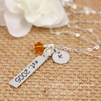Personalized EST Necklace, Hand Stamped Established Jewelry, Sterling Silver EST. with Cross Necklace, Father & Mother Gift, Annversary Gift