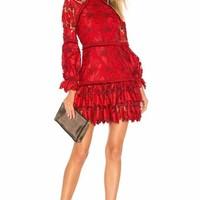 Chili Red Lace Long Sleeve Mini  Dress