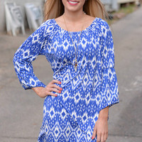 Blue Stripe Print Beach Dress