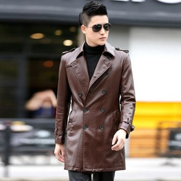 Men's leather coat of cultivate one's morality long double-breasted trench coat lapel high quality pu leather