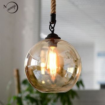 Loft Vintage retro Industrial Glass Ball Hemp rope Pendant Lights E27 Fixtures for Restaurant Dining room Living Room Cafe Bar
