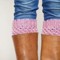 Crochet Boot Cuffs in Dusky Rose - Soft Pink Boot Toppers - leg warmers