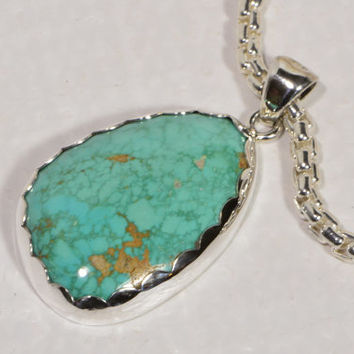 Turquoise Necklace Handmade Turquoise Pendant Sterling Silver Jewelry Turquoise Jewelry Handmade Jewelry