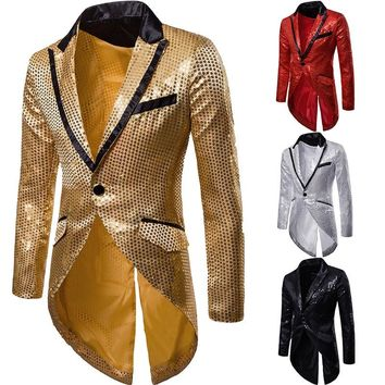 Mens Slim Fit Sequin Tailcoat   2018 Autumn Brand New Male Long Sleeve Frock Coat Man Party/Club/Wedding Suit Blazer Jacket