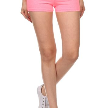 Fold Over Yoga Short Shorts With Thick Waistband