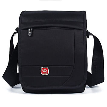 Men Nylon Crossbody Bag Multi-zipper Shoulder Bag Velcro Messengers Bag