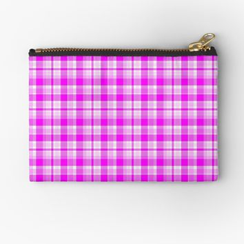 'Tartan Pretty Pink Plaid' Studio Pouch by MarkUK97