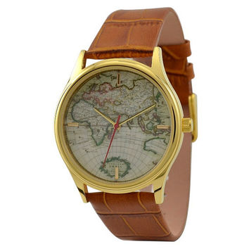 Vintage Map Watch Eastern Hemisphere by SandMwatch on Etsy