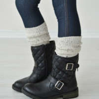 Girls Confetti Knit Boot Socks - Oatmeal