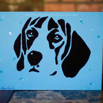 Beagle Pet Painting - Tonal Blue Beagle Dog Wall Art Pet Painting - Original Artwork on Art Board