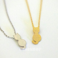 Tiny small cat in gold or silver, simple, everyday, heart giraffes necklace