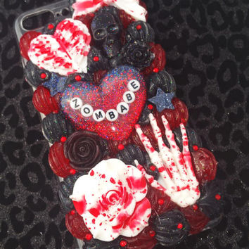 Zombabe Goth horror theme decoden phone case iPhone 7 PLUS   walking dead zombie
