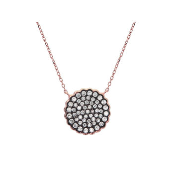 "Silver Pink Plated 16mm Diam Pave CZ Disc Black Rhodium Pendant Necklace 15.5""+1.5"""