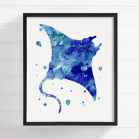 Manta Ray Watercolor Painting, Manta Ray Art Print, Manta Ray Poster, Nautical Wall Art, Bathroom Decor, Coastal Wall Decor, Ocean Art Print