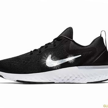 Nike Odyssey React  + Crystals - Black and White