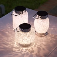 Solar - SOLAR HAND-BLOWN GLASS BOATERS LANTERN-WHITE OVAL