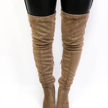 Get Ready Taupe Thigh High Boots