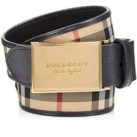 Burberry London 'George' Plaque Buckle House Check & Leather Belt 85/34 $295.00