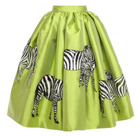Acqua Mikado Skirt With Hand-Painted Zebras by Stella Jean - Moda Operandi